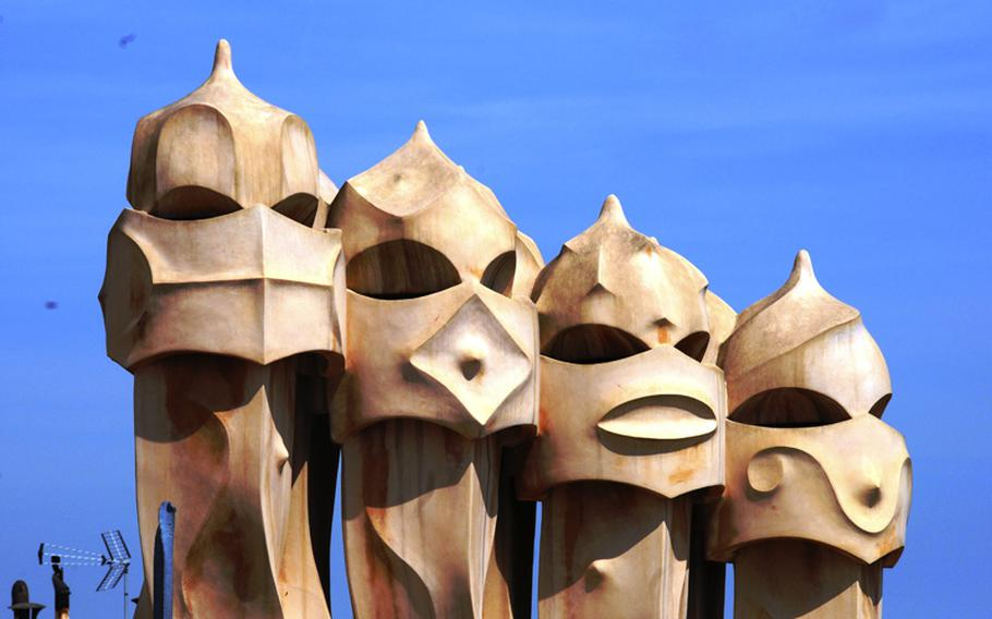 Eccentric chimney tops on the roof of La Pedrera, or sometimes called Casa Mila.