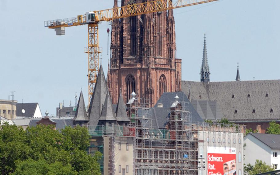 Frankfurt's Dom is visible from the riverboat cruiser Nautilus. Primus-Linie offers Main River cruises that highlight the historical sights and neighborhoods of Frankfurt, Germany.