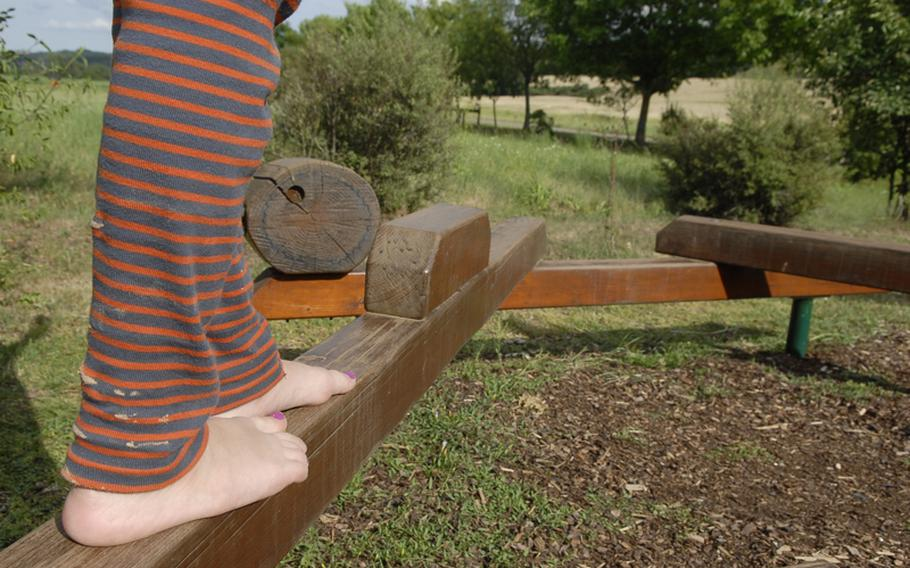 Various foot stations, such as this wooden balance beam, are scattered throughout the trail.