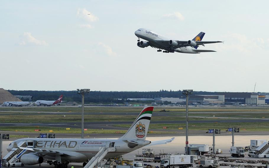 A Lufthansa Airbus A380 takes off from Frankfurt International Airport. The A380 is the world's largest passenger plane.
