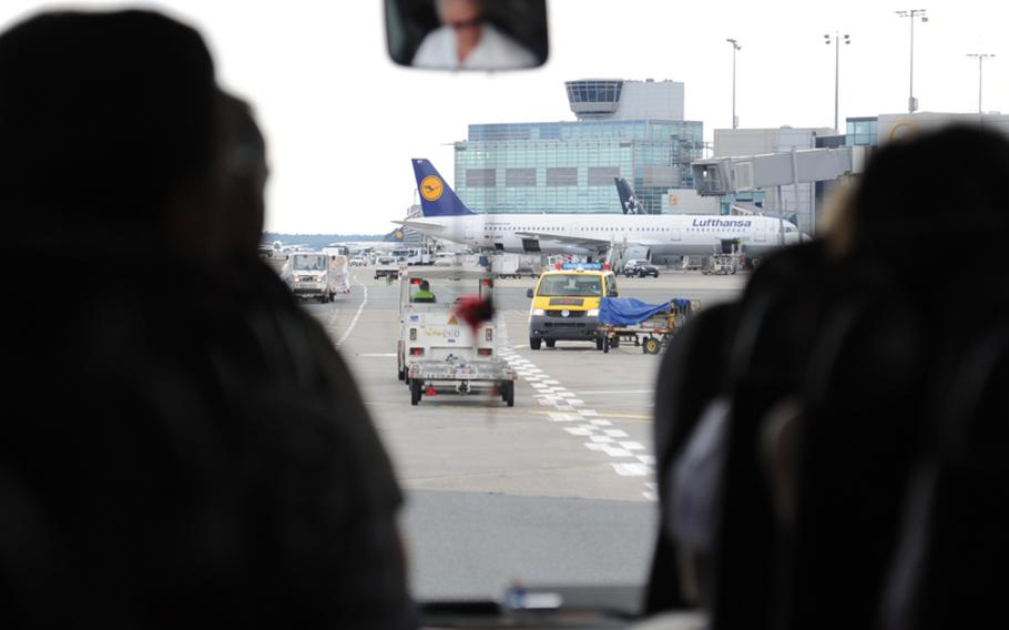 The tour bus becomes part of the heavy traffic at Frankfurt Airport, Europe's third busiest.  Michael Abrams/Stars and Stripes