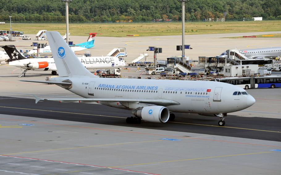 An Ariana Afghan Airlines plane rolls to its parking position at Frankfurt Airport. More than 100 airlines flying to almost 300 destinations take off and land at the airport, the ninth busiest in the world.