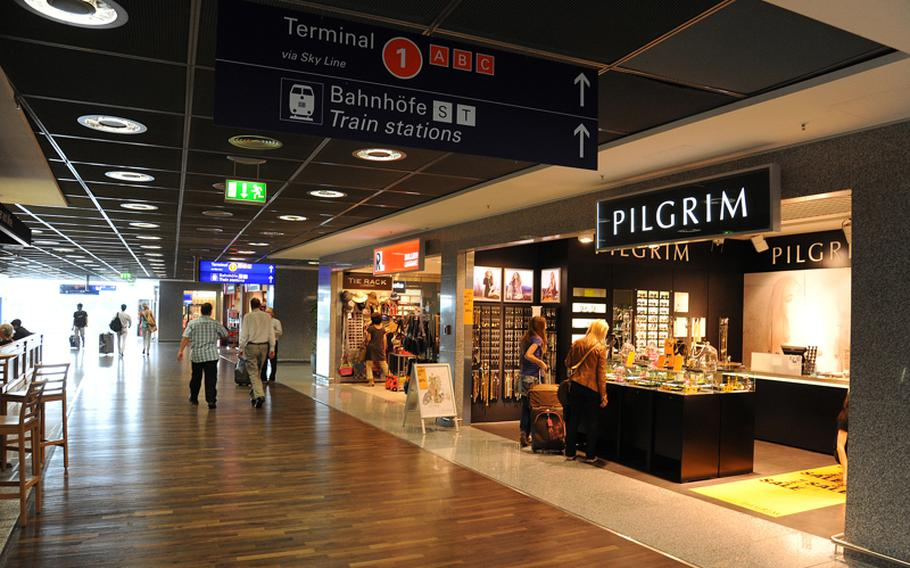 Besides watching airplanes take off and land, visitors will find plenty of places to eat, drink and shop at  Frankfurt Airport. Seen here is Terminal 2's new shopping plaza.