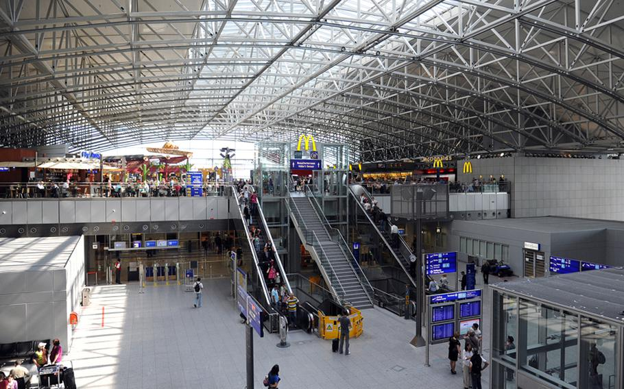 A view of Terminal 2 with its food court at Frankfurt Airport. The McDonald's at right is supposedly Europe's largest.