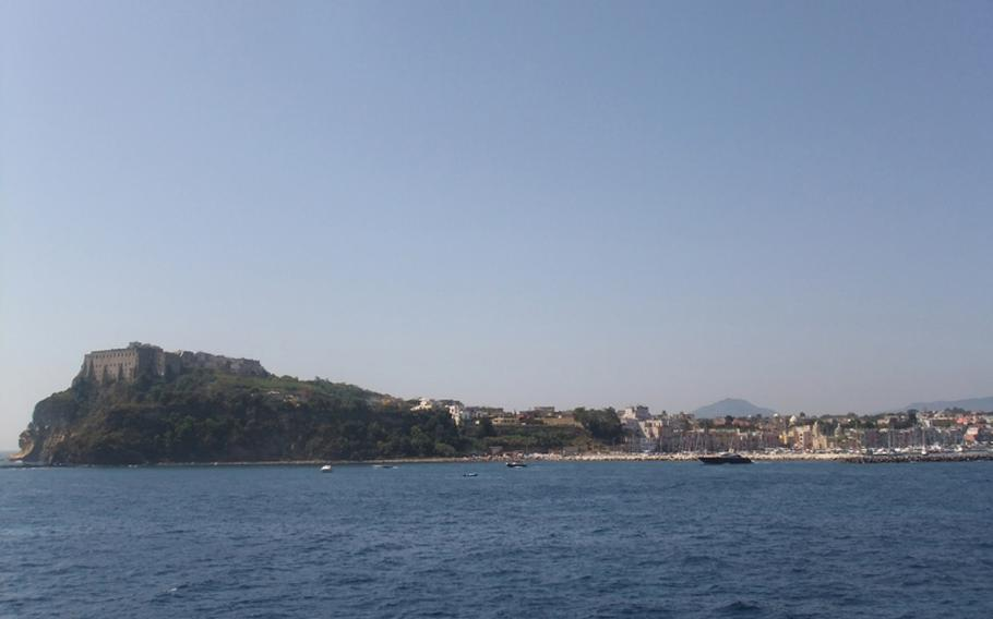 The lovely island comes into view from a ferry.