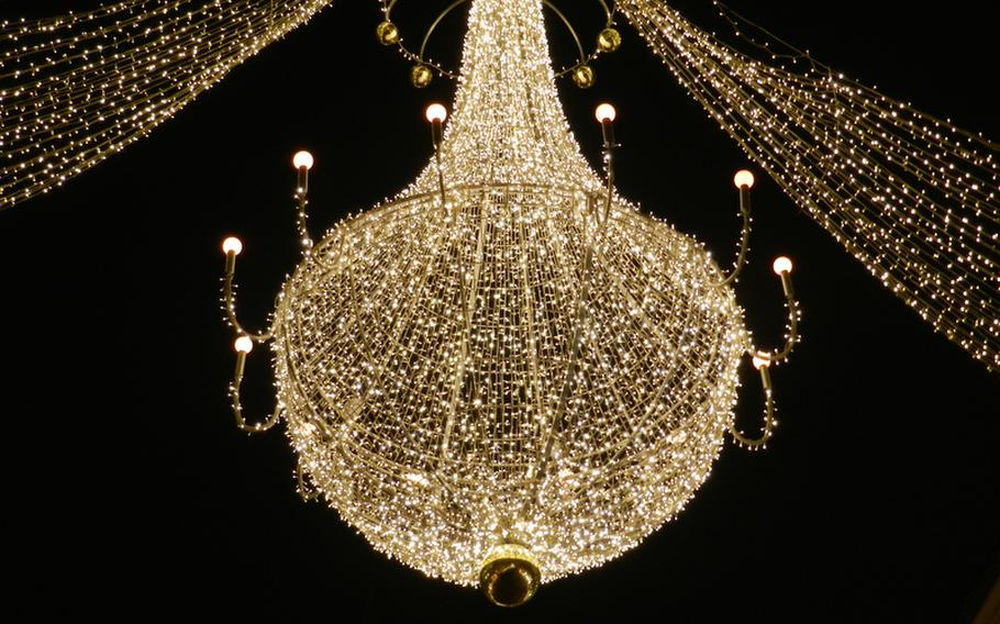 One of the elegant chandelierlike decorations that light up one section of Vienna, Austria's downtown pedestrian zone during the holidays in 2011. The decorations changed every few blocks throughout the pedestrian zone, with each set of lights setting a different mood in each neighborhood.