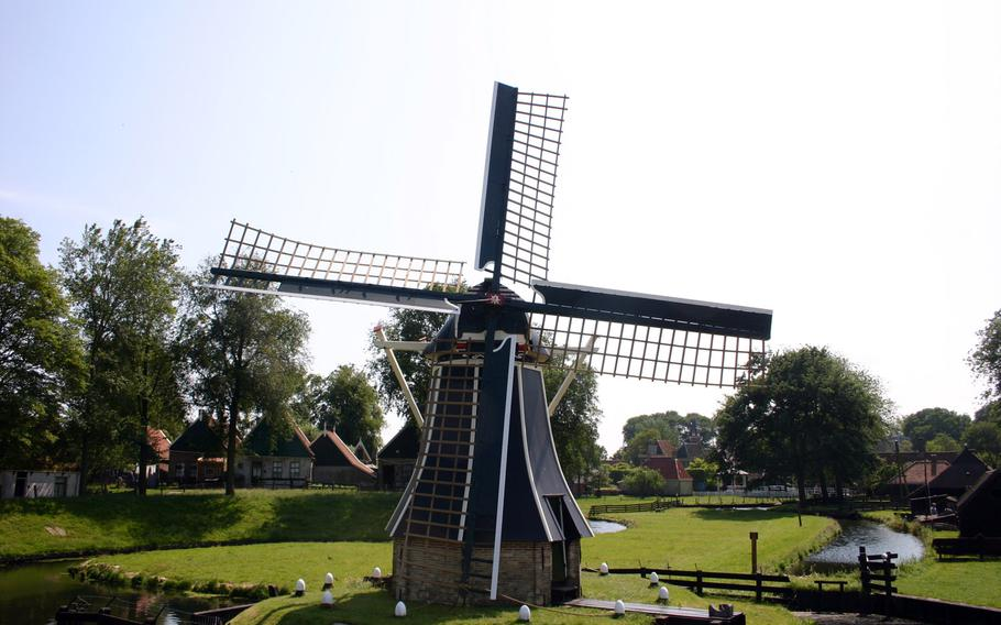 Windmills similar to this one at the Zuiderzee Museum in Enkhuizen have been used in the Netherlands for centuries to regulate water levels.