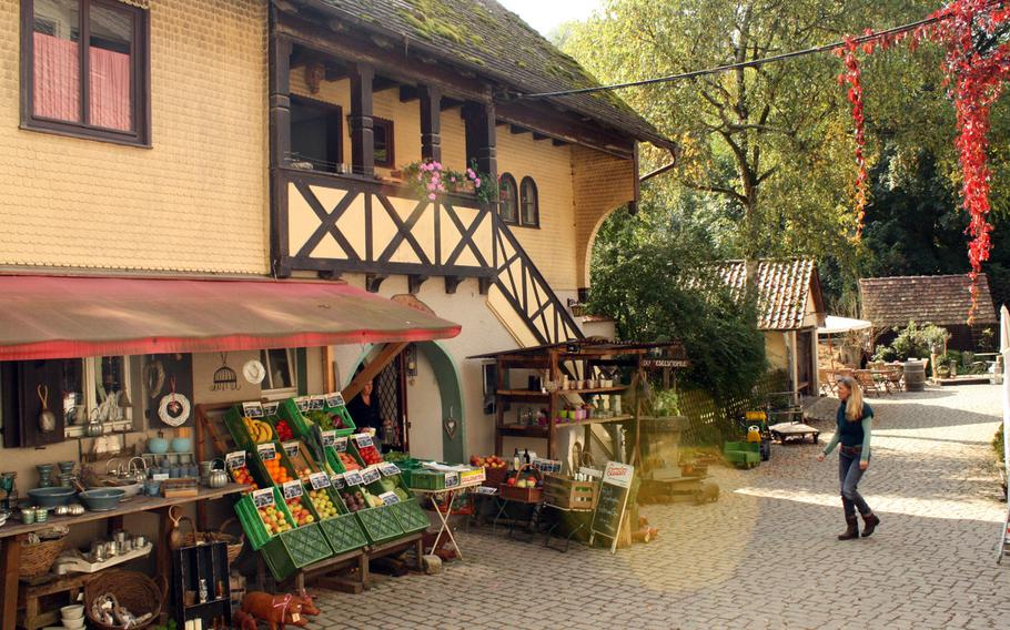 At the Eselsmuehle mill, a humble little collection of half-timbered structures is set in a valley, and there's a well known organic bakery and cafe, where visitors can relax.