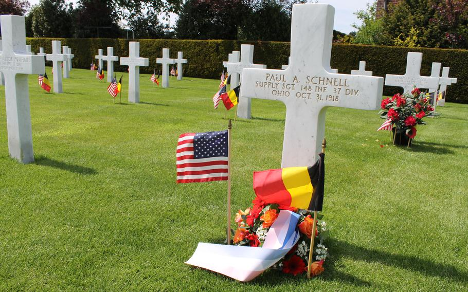 The Flanders Field American Cemetery in Waregem, Belgium, has 368 U.S. military graves and 43 names engraved on a memorial honoring the missing. Each May, the small Belgian city honors these servicemembers at a Memorial Day ceremony.