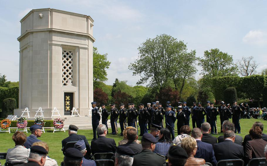 American and Belgian militaries; U.S. Lt. Gen. David Hogg, U.S. military representative to the NATO Military Committee; and U.S. Ambassador to Belgium Howard Gutman were among the crowd filling the Flanders Field American Cemetery in May.
