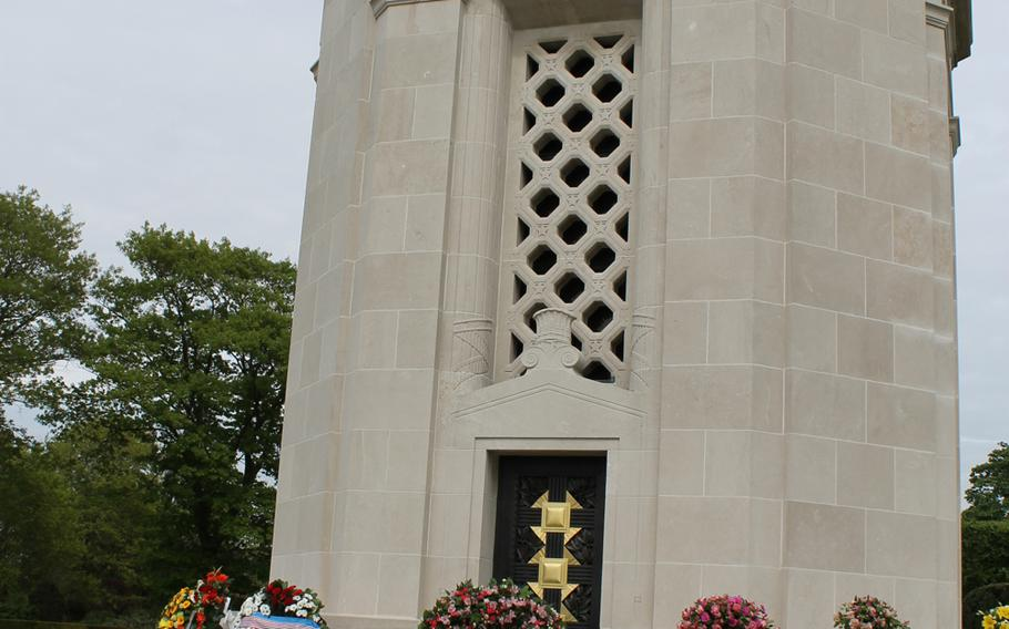 The Flanders Field Cemetery's chapel in Waregem, Belgium, is adorned with wreaths after the Memorial Day ceremony.