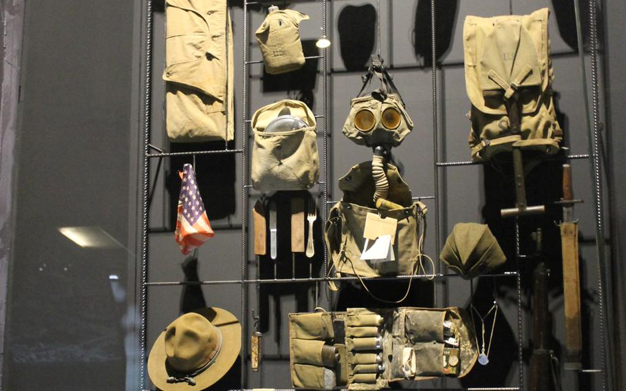 Uniforms worn by the U.S. military in World War I are part of a section highlighting America's involvement in the war at the In Flanders Fields Museum in Ypres, Belgium.