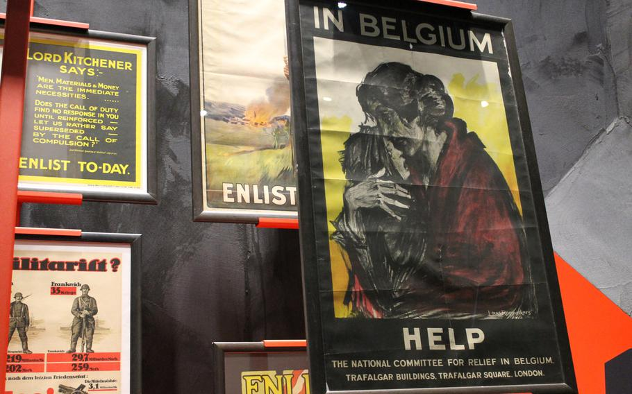Posters featuring drawings of forlorn Belgians after the German invasion and occupation of the small, neutral country are displayed at the In Flanders Fields Museum in Ypres, Belgium. The posters helped fuel support for the war in America and other nations.