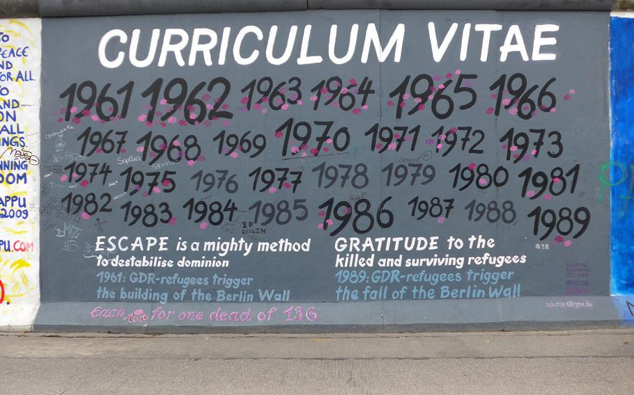 """The """"curriculum vitae"""" of the Berlin Wall as done by Susanne Kunjappu-Jellinek at the East Side Gallery in Berlin."""