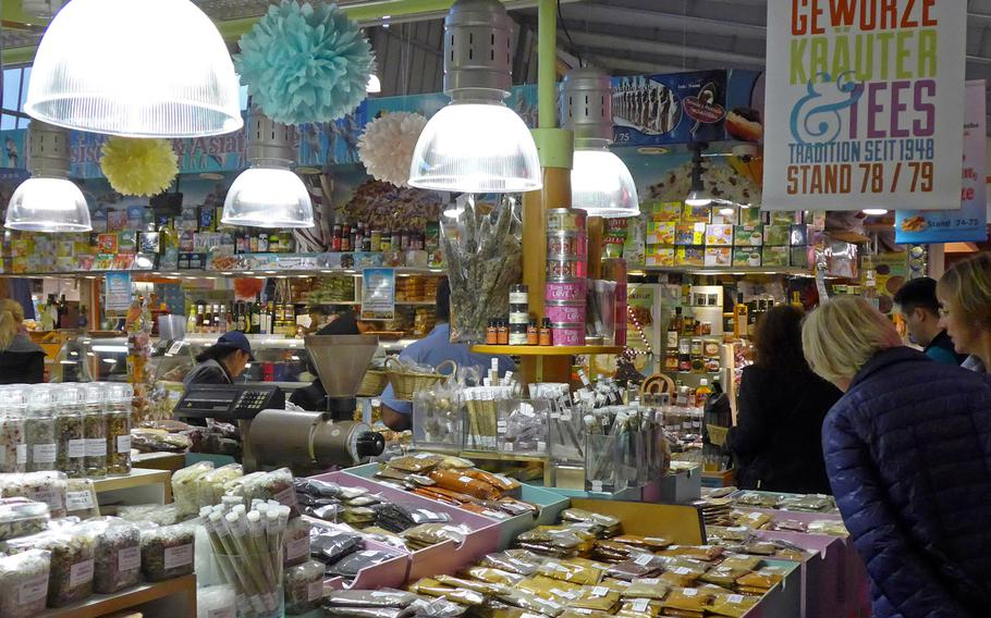 Spices, herbs and teas entice customers at Frankfurt, Germany's Kleinmarkthalle.