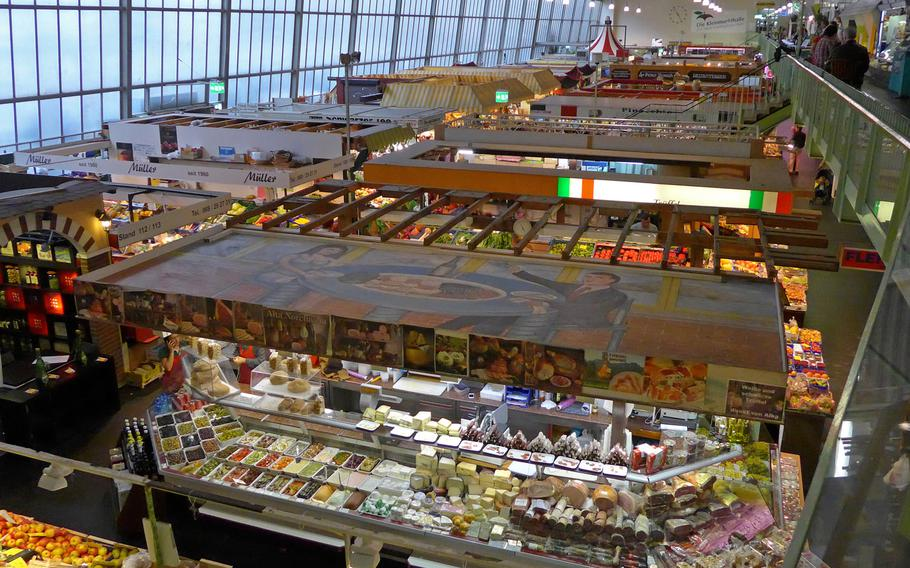 Fruit, vegetables, meat, spices, cheeses and more are sold at the Kleinmarkthalle in Frankfurt, Germany.