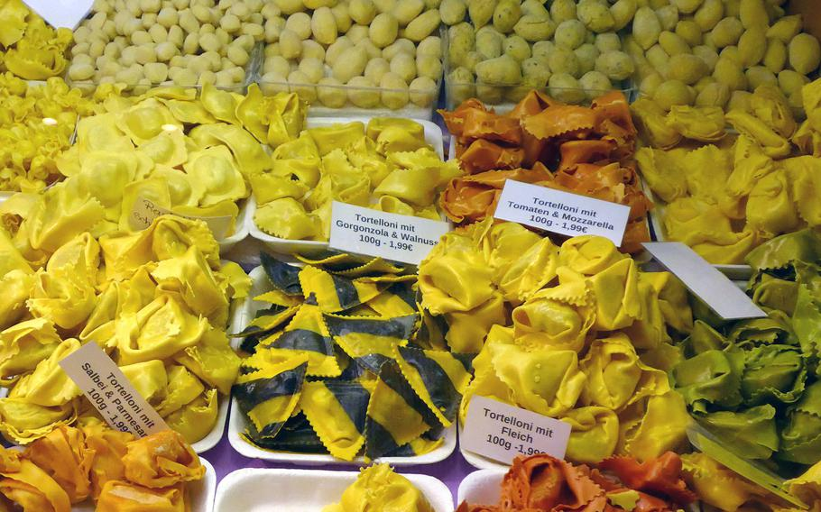 Trays of pasta at the Kleinmarkthalle in Frankfurt, Germany.