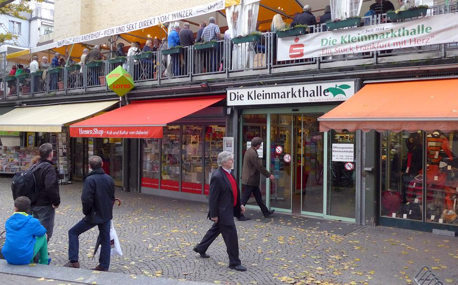 The Kleinmarkthalle in downtown Frankfurt, Germany, is a popular indoor food market offering specialties from Europe and the Middle East.