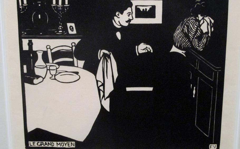 """Part of a special exhibition at the Peggy Guggenheim Collection in Venice is  """"Le Grand Moyes"""" by Felix Vallotton, who used a woodcut technique to portray, through a weeping wife, the psychological tensions between men and women. Vallotton, Swiss-born, was part of Les Nabis, a group of avant-garde artists in Paris  in the 1890s."""