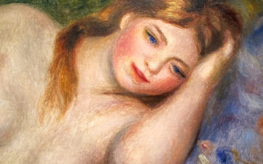 """This nude by Auguste Renoir is part of a special exhibition of post-Impressionist artists at the Peggy Guggenheim collection in Venice. Renoir, the exhibition explains, was known for """"sensuous colors and dappled brushstrokes focused on the monumental and voluptuous female nude."""""""