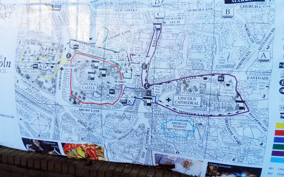 A map illustrates the layout of the Lincoln Christmas market in England in 2012.