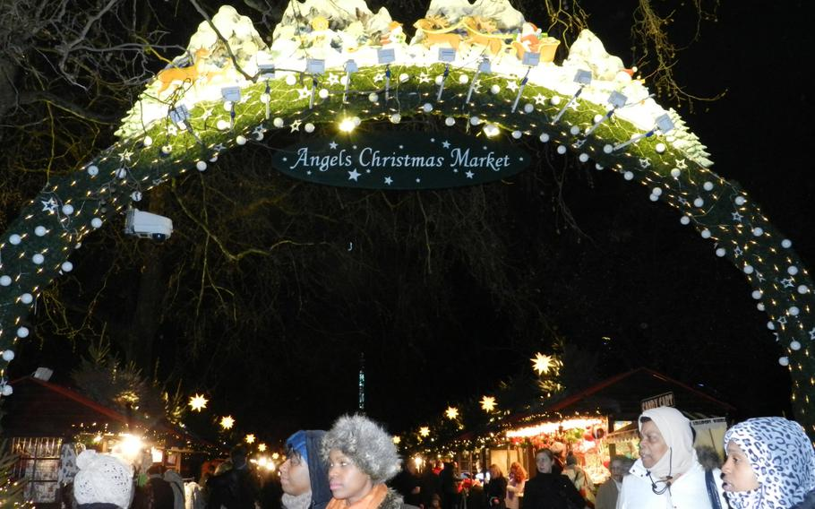 A lighted archway greets visitors to the 2012 Winter Wonderland Hyde Park in London.