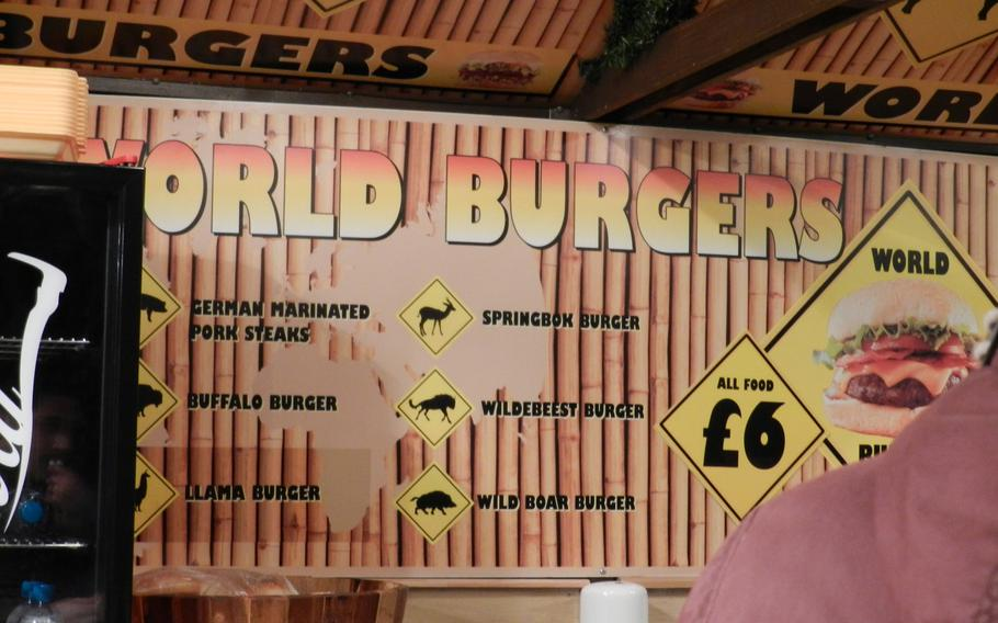 Food from all corners of the world is available at London's Winter Wonderland Hyde Park, as proven by this World Burgers stand in 2012.