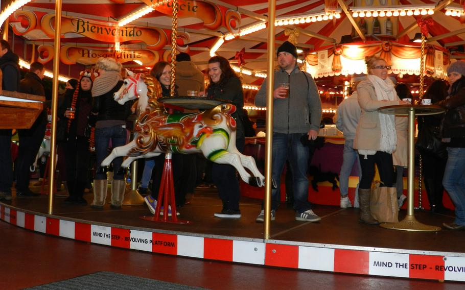 Those seeking liquid refreshment could ride a revolving bar with a carousel theme at the 2012 Winter Wonderland Hyde Park in London.