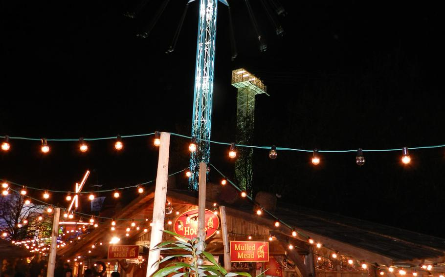Sky-high rides and refreshment stands are a big part of Winter Wonderland Hyde Park in London.