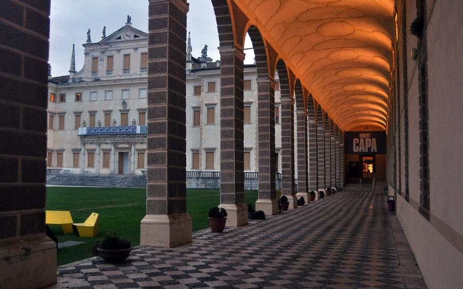 Night falls fairly early in December in northern Italy, but the hallways at Villa Manin are well lit. The current exhibit featuring the photographs of Robert Capa, is open 10 a.m. to 1 p .m. and 3-6 p.m.  weekdays and 10 a.m. to 7 p.m. Saturday and Sunday through Jan. 19, 2014.