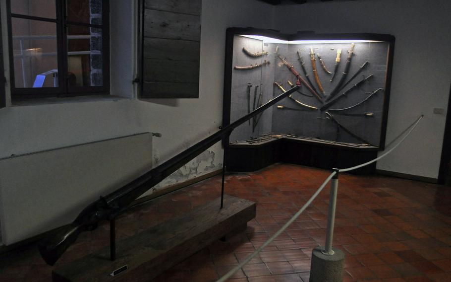 This extremely long gun is featured in one of several rooms at Villa Manin in northeast Italy dedicated to arms and armor. The rooms are just a few steps from the entrance to a temporary exhibit of photography from Robert Capa.