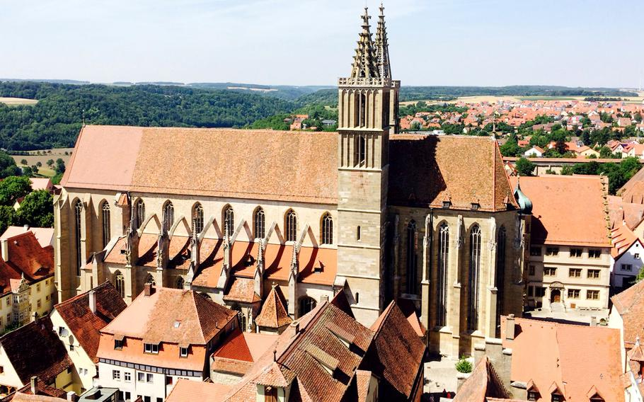 St. Jakob Church is the largest church in Rothenburg, Germany. Visitors can rent audio guides to get an informative tour on the church's art and history.