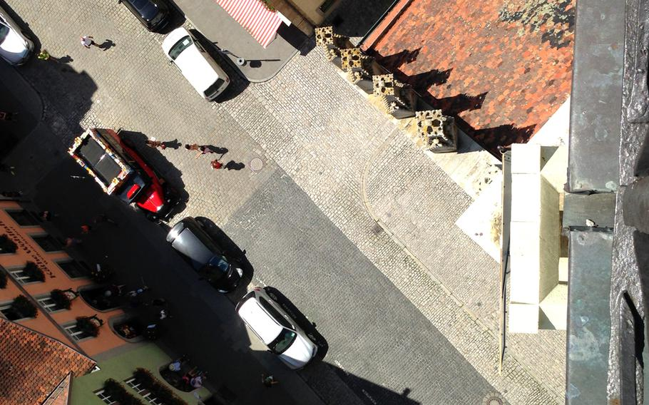 It's a long way down to the street from the top of the town hall's bell tower in Rothenburg, Germany.
