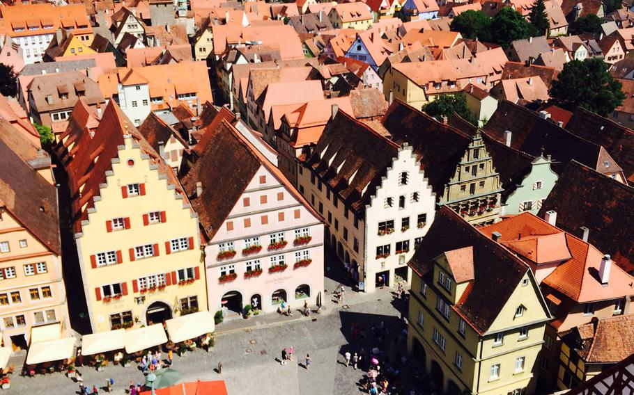 Rothenburg's picturesque architecture is photo-worthy even with a bird's-eye view from the main square's bell tower.