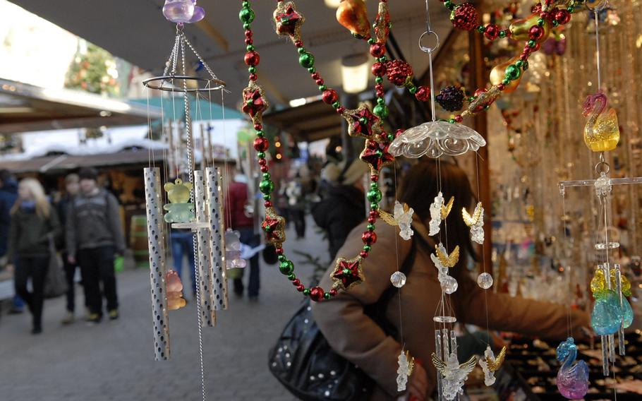 Delicate wind chimes were among some of the exceptional items for sale in December 2013 at the annual Christmas market in Speyer, Germany.