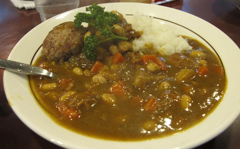 """The pork and beans with a side of mini """"hanbagu"""" makes for a hearty winter meal."""