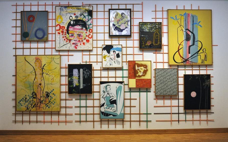 """""""Die 50er Jahre,"""" or """"The 50s,"""" by Sigmar Polke is on display in the art after 1945 section of the Hesse State Museum in Darmstadt. Made up of 12 pieces attached to a wood lattice, Polke worked on the piece from 1963-69."""