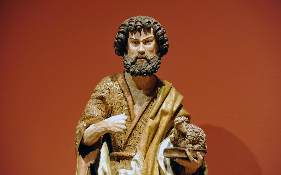 A striking wood statue of John the Baptist from around 1520 is on display at the Hesse State Museum in Darmstadt, Germany.