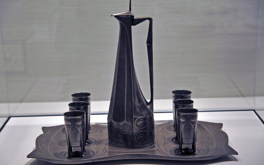 An art nouveau wine service designed by Joseph Maria Olbrich for the 1904  Artists' Colony exhibit in Darmstadt, Germany, is on display at the city's Hesse State Museum. The service was also on display at the 1904 World's Fair in St. Louis.