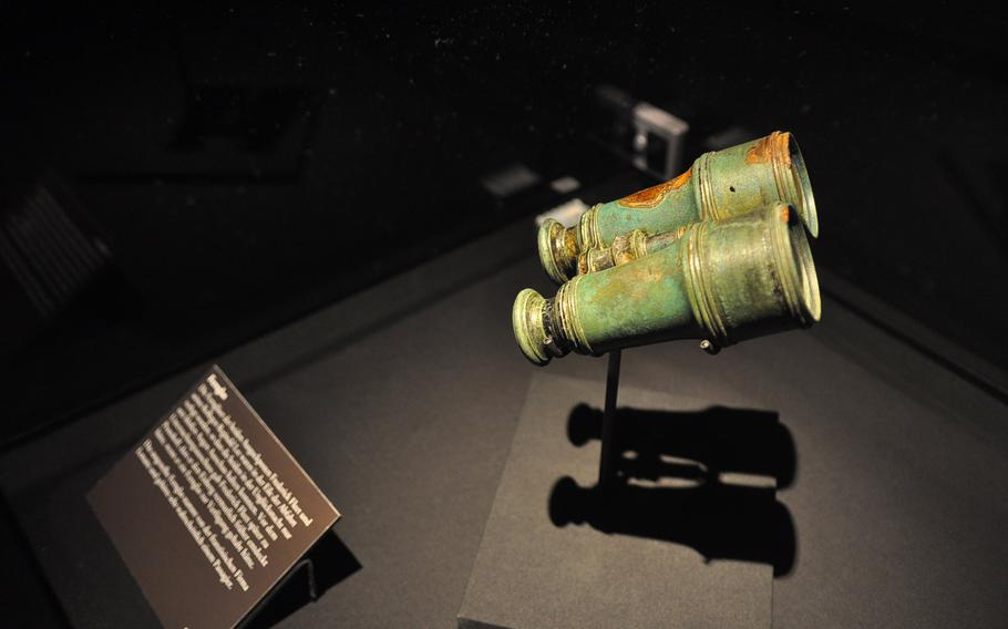 Binoculars belonging to a passenger on the doomed maiden voyage of the Titanic sits in a display case at the Historical Museum of the Palatinate in Speyer, Germany. Legend has it that the two lookouts in the crow's nest the night the Titanic sank did not have binoculars. A pair was reportedly stored in a locker that no one knew about or that no one had the keys to. It's debatable, however, whether binoculars would have helped the lookout spot the iceberg sooner due to the conditions.