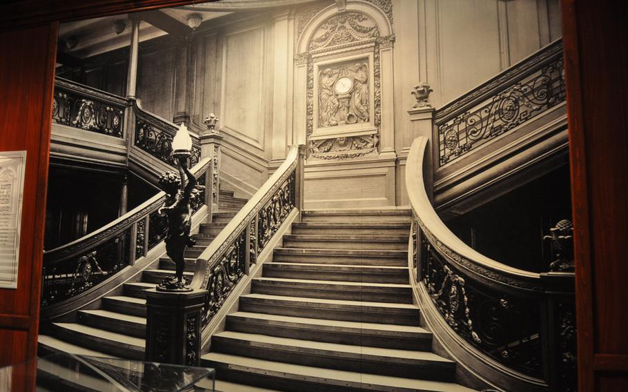 A large photograph of the grand staircase from the RMS Olympic is similar to the one built inside the Titanic. Only first-class passengers could use the staircase, which gives one the idea of the level of opulence found inside the ill-fated luxury liner. The photo is part of an exhibit on the Titanic at the Historical Museum of the Palatinate in Speyer, Germany.
