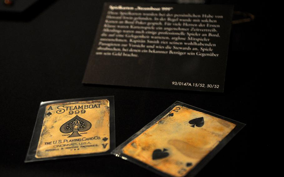 Many items salvaged from the Titanic's seabed wreckage remain remarkably well-preserved, including these two playing cards. Nearly 250 items recovered from the sunken liner are on display through most of June at the Historical Museum of the Palatinate in Speyer, Germany.