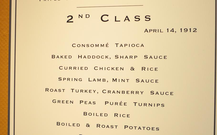 """One of the few items in the Titanic exhibition in English at the Historical Museum of the Palatinate in Speyer, Germany: A 2nd Class menu. The Titantic was known as a """"Triple Screw Steamer"""" because it had three propellers."""