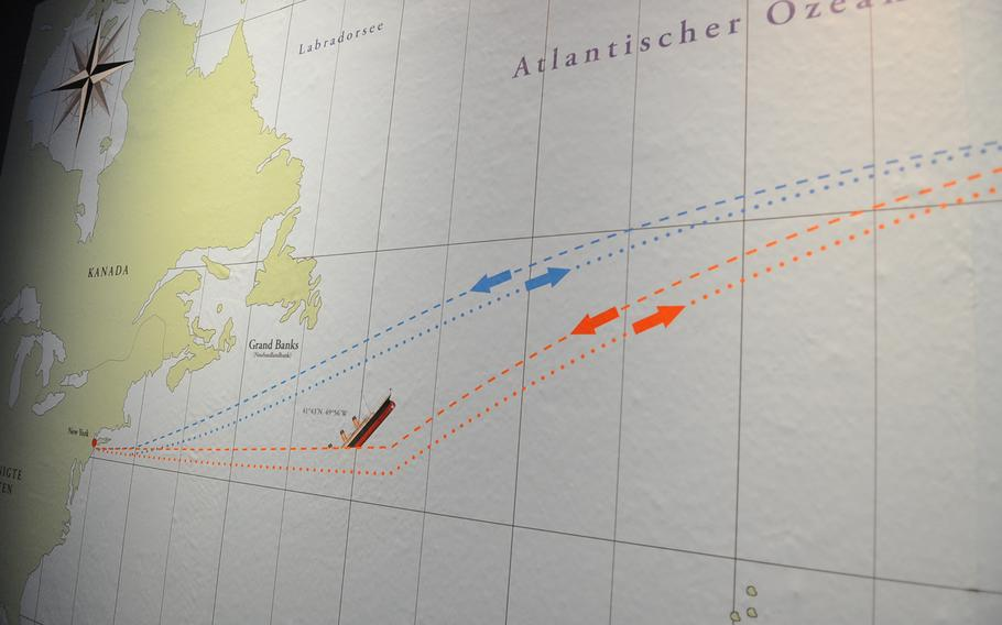 A map shows the approximate location in the North Atlantic Ocean where the RMS Titanic sank on April 15, 1912, after striking the side of a large iceberg.