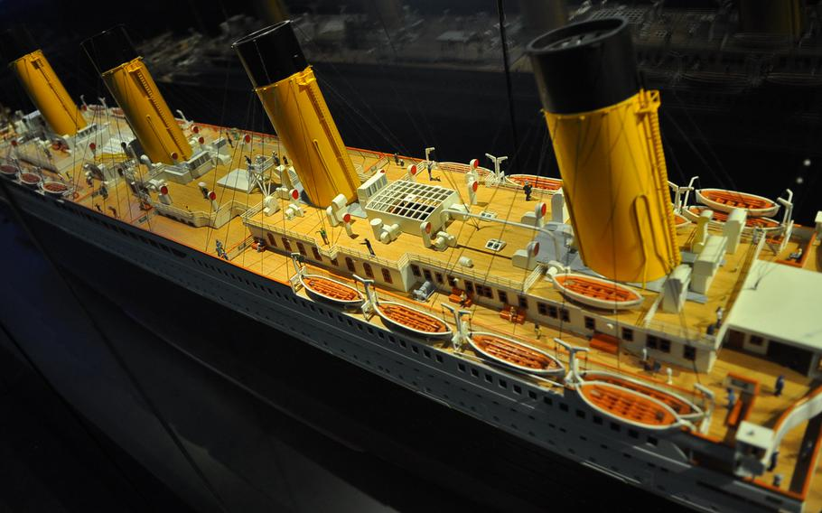A replica of the RMS Titanic shows a number of lifeboats tethered to the deck. The ship didn't have enough lifeboats to accommodate the 2,215 people on board. Only 710 passengers and crew were rescued after the ship hit an iceberg and sank in the frosty North Atlantic Ocean on April 15, 1912. The replica is part of the Titanic exhibition at the Historical Museum of the Palatinate in Speyer, Germany.
