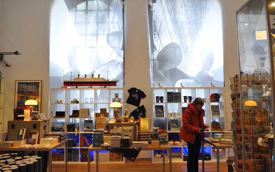 A customer browses in the gift shop after touring the Titanic exhibition at the Historical Museum of the Palatinate. About 63,000 visitors have gone through the exhibition since its opening in December. The exhibition runs through most of June.