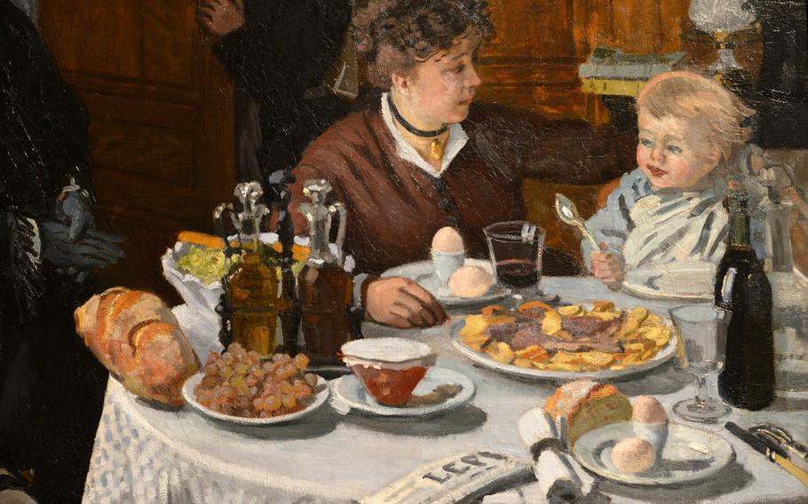 """A detail photo of Claude Monet's """"The Luncheon"""" from 1868/69. This painting, along with another with the same name from 1873, are the centerpieces of the the """"Monet and the Birth of Impressionism"""" exhibit at the Städel in Frankfurt, Germany."""
