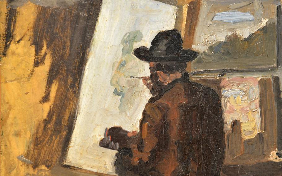 """Detail from Jean-Baptiste Armand Guillaumin's """"Portrait of Pissarro"""" from 1868. It is one of many impressionist works on display in the """"Monet and the Birth of Impressionism"""" exhibit at the Städel in Frankfurt, Germany."""