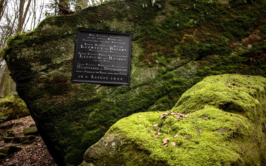 A plaque near one entrance to the Karlstalschlucht trail notes a visit by royalty in the 19th century, when the valley was part of the Trippstadt palace's sprawling gardens.