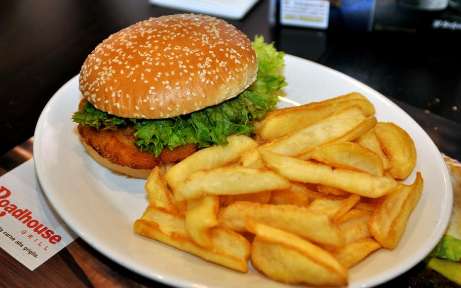 The chicken sandwich is one of a handful of gourmet sandwiches at Roadhouse Grill. On Wednesdays, the meal sells for 7 euros.